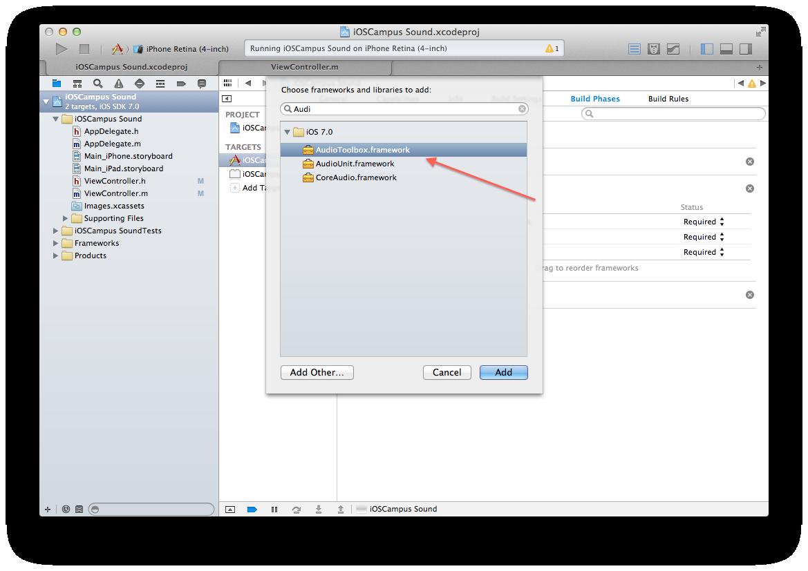 Sound abspielen - Xcode Framework hinzufügen